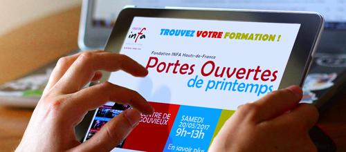 Bannière publicitaire mobile tablette pour centre de formation
