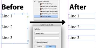 Comment convertir paragraphe ligne indesign script