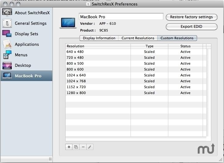 Résolutions manuelles écran macbookpro