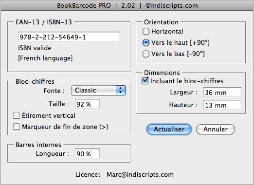 Script livre code barre isbn générateur