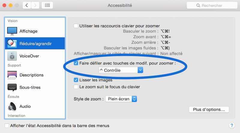 Comment activer le zoom Mac OS X