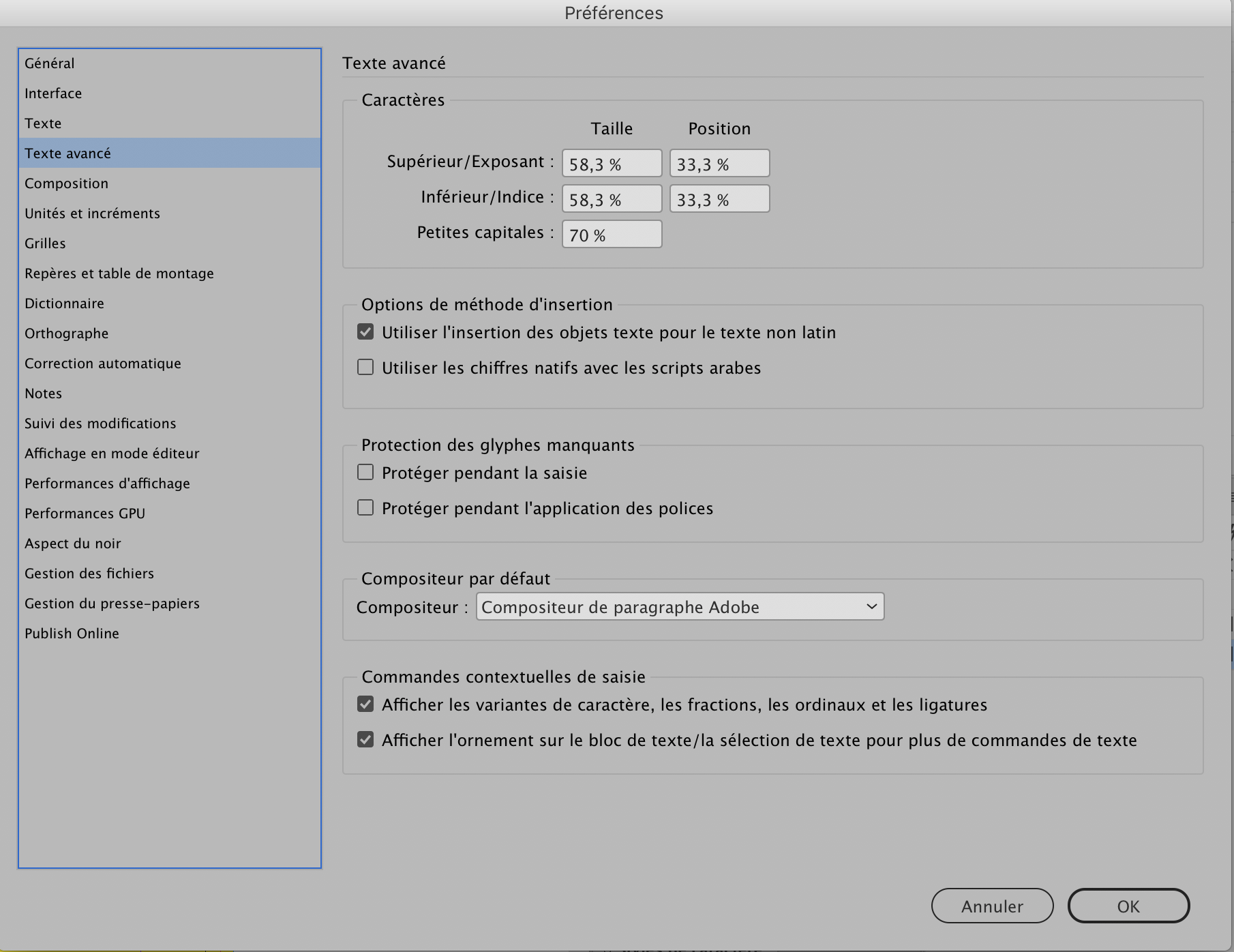 Preferences InDesign plus rapide