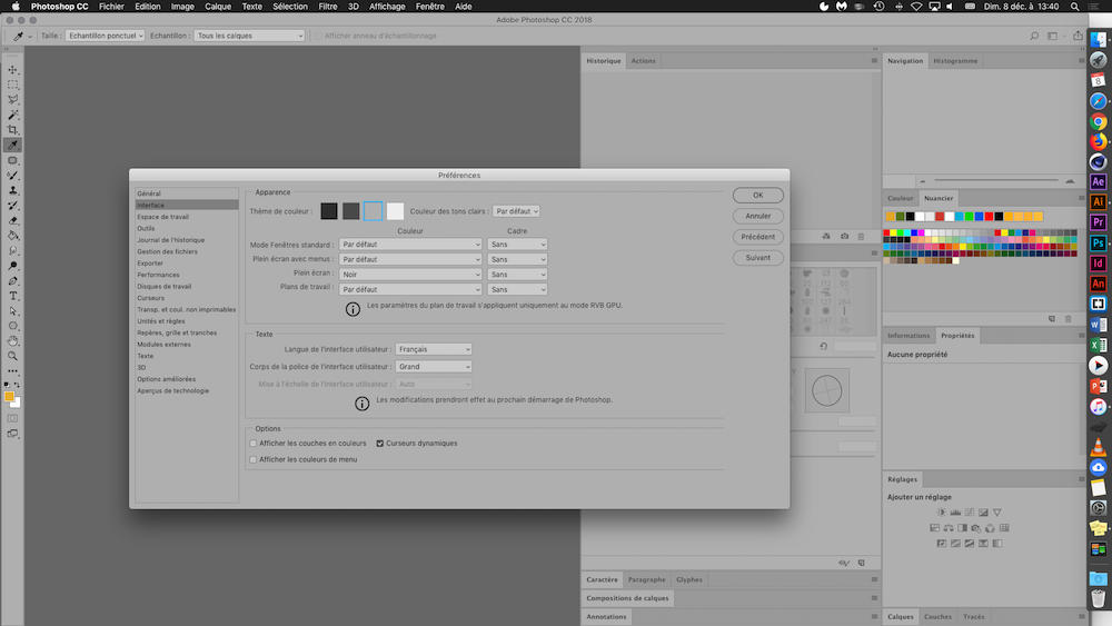 photoshop changer taille interface mac