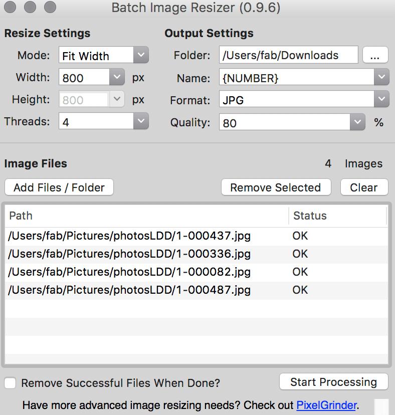 solution redimensionner compresser lot photos