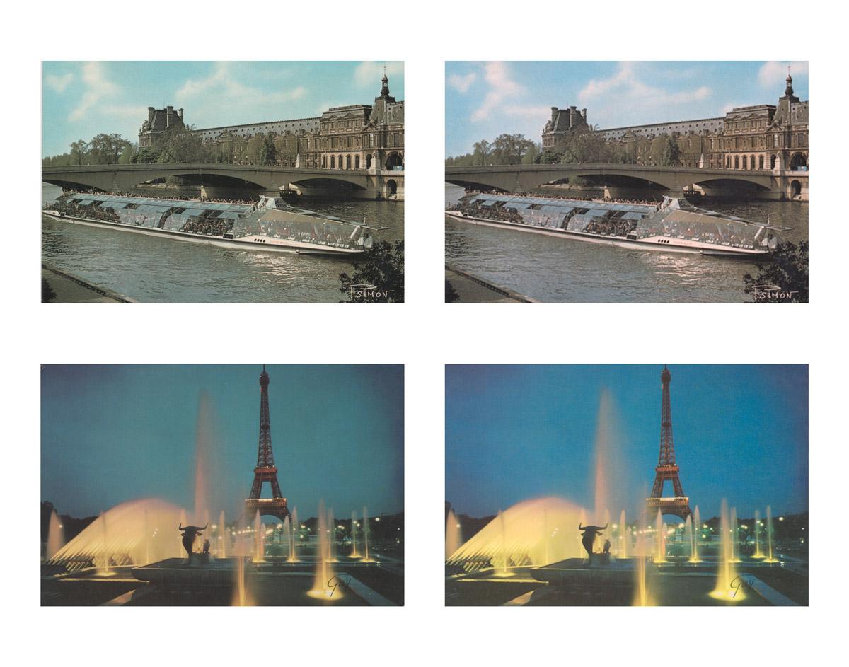 Cartes postales délavées restaurées photographe